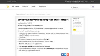 Set up your R850 Mobile Hotspot as a Wi-Fi hotspot - Sprint