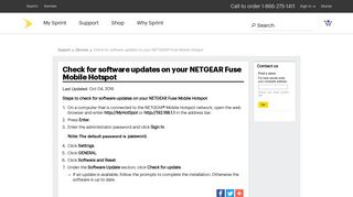 Check for software updates on your NETGEAR Fuse Mobile ... - Sprint