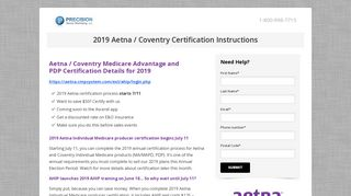 2019 Aetna / Coventry Certification Instructions