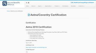 Aetna/Coventry Certification - Secure Benefits Alliance