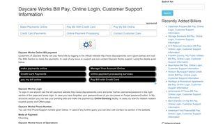 Daycare Works Bill Pay, Online Login, Customer Support Information