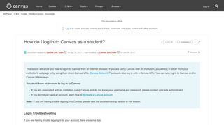 How do I log in to Canvas as a student? | Canvas LMS Community