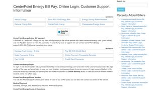 CenterPoint Energy Bill Pay, Online Login, Customer Support ...