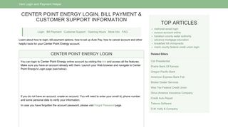 Center Point Energy Login, Bill Payment & Customer Support ...