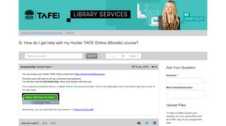 Q. How do I get help with my Hunter TAFE Online (Moodle) course ...