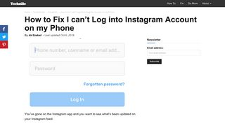 How to Fix I can't Log into Instagram Account on my Phone - Techzillo