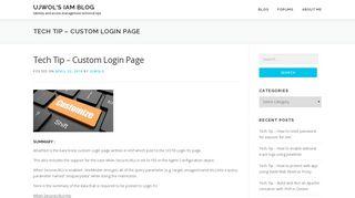 Tech Tip - Custom Login Page - Ujwol's IAM Blog