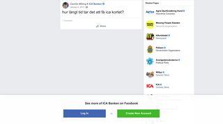 Camilla Wiking - hur långt tid tar det att få ica kortet? | Facebook