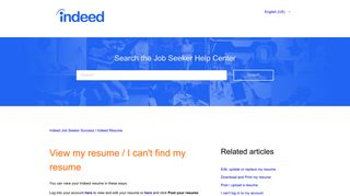 View my resume / I can't find my resume – Indeed Job Seeker Support