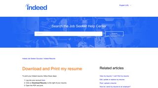 Download and Print my resume – Indeed Job Seeker Support