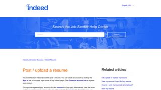 Post / upload a resume – Indeed Job Seeker Support