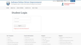 Student Login - Indiana Online Driver Improvement