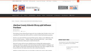 Alachua County Schools OKs $3.25M Software Purchase – WUFT News