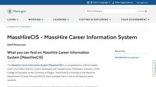 MassCIS - Massachusetts Career Information System   Mass.gov
