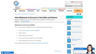 View Statement of Account or View Bills and Notices - IRAS