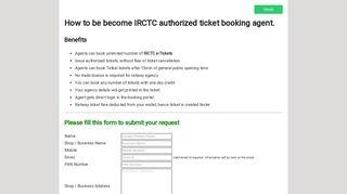 IRCTC Railways Booking Agency Registration - eRail.in