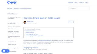 Common Single sign-on (SSO) issues – Help Center - Clever Support