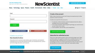 Log in to your account | New Scientist