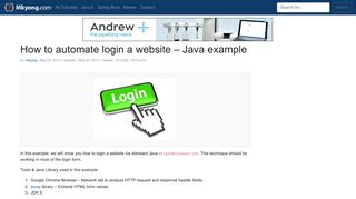 How to automate login a website – Java example – Mkyong.com