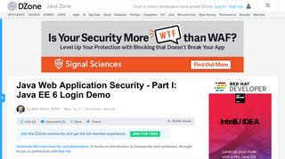 Java Web Application Security - Part I: Java EE 6 Login Demo - DZone ...
