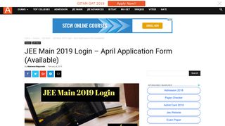 JEE Main 2019 Login - Download Here Paper 1 Result | AglaSem