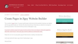 Create Pages in Jigsy Website Builder, a Jigsy Tutorial