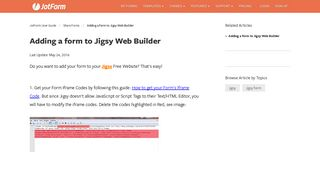 Adding a form to Jigsy Web Builder   JotForm