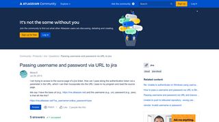 Solved: Passing username and password via URL to jira