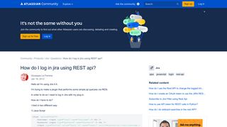 How do I log in jira using REST api? - Atlassian Community