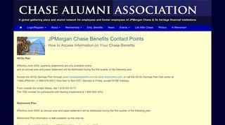 JPMorgan Chase Benefits Contact Points - Chase Alumni Association