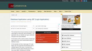 Database Application using JSF (Login Application)   Java Web Tutor