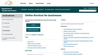 Online Services for businesses - Department of Taxation and Finance