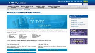 Massachusetts Insurance Continuing Education (CE) - Kaplan Financial