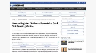 How to Register/Activate Karnataka Bank Net Banking Online