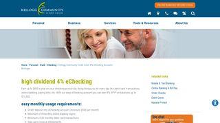 Kellogg Community Credit Union 4% eChecking Accounts Michigan ...