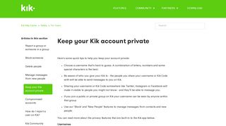 Keep your Kik account private – Kik Help Center