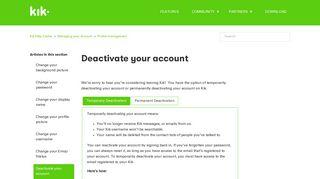 Deactivate your account – Kik Help Center