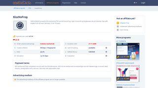 KissNoFrog Affiliate program: 0,75 EUR per Registration at AdKlick