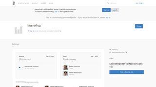 kissnofrog Careers, Funding, and Management Team | AngelList