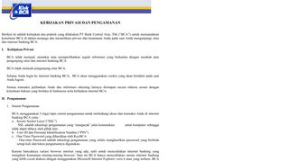 klikBCA Individual - Privacy Policy