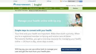 Kaiser Permanente®   Manage your health online with kp.org   Imagine!