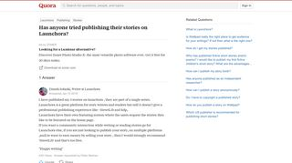 Has anyone tried publishing their stories on Launchora? - Quora
