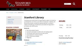 Stanford Library - Stanford Middle School - School Loop