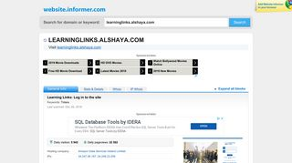 learninglinks.alshaya.com at WI. Learning Links: Log in to the site