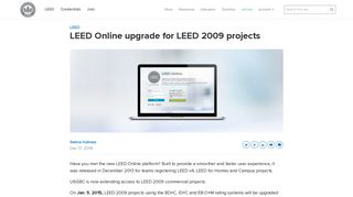 LEED Online upgrade for LEED 2009 projects   U.S. Green Building ...