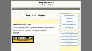 Lendcor Login | Loan Deals SA