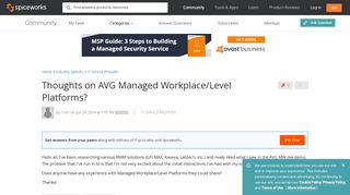 Thoughts on AVG Managed Workplace/Level Platforms? - IT Service ...