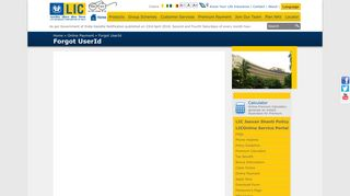 Life Insurance Corporation of India - Forgot UserId - LIC of India