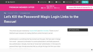 Let's Kill the Password! Magic Login Links to the Rescue! — SitePoint