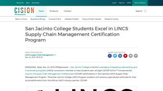 San Jacinto College Students Excel in LINCS Supply Chain ...